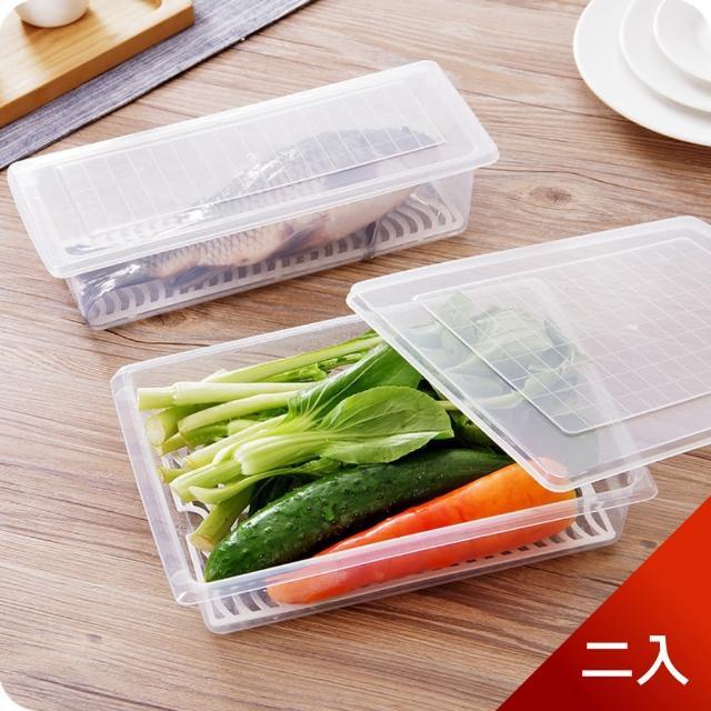 【Dagebeno荷生活】長方形瀝水保鮮盒 海鮮魚類肉類解凍盒 筷子湯匙收納盒(大號二入)