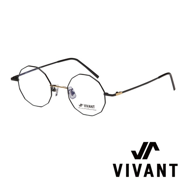 【VIVANT】韓國 多邊形金屬框 光學眼鏡(.黑/金 octogone C3)
