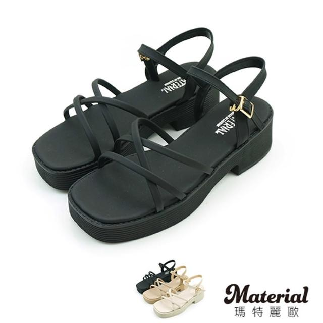 【MATERIAL】涼鞋 交叉細帶厚底涼鞋 MA女鞋 T4877(涼鞋)