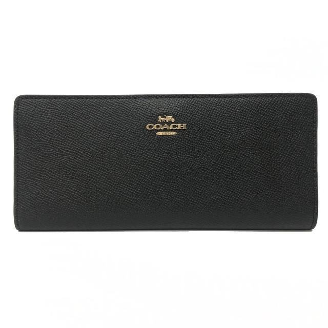 【COACH】多卡片夾層零錢袋薄型長夾(黑)