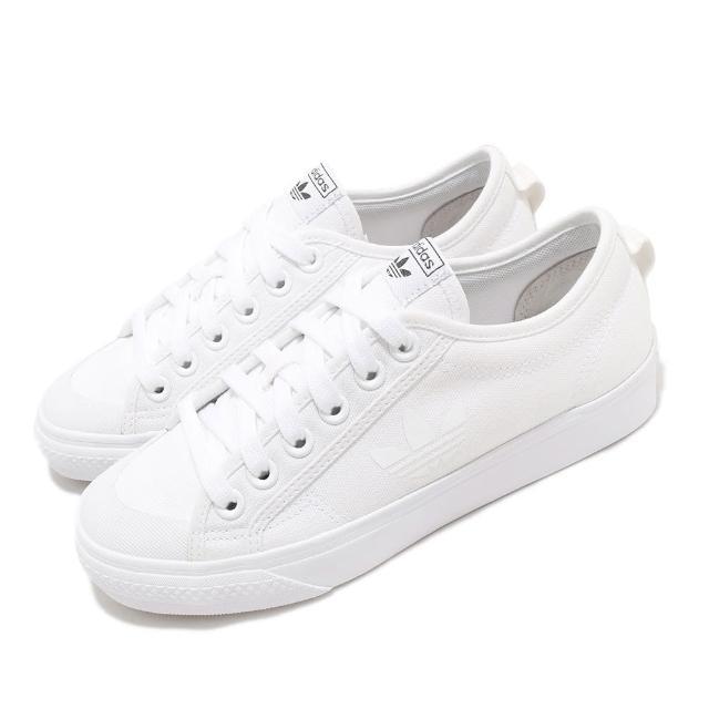 【adidas 愛迪達】休閒鞋 Nizza Trefoil 帆布鞋 男女鞋 愛迪達 三葉草 基本款 小白鞋 情侶鞋 白 黑(FW5184)