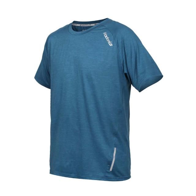 【HODARLA】男英速剪接短袖圓領衫-台灣製 吸濕排汗 T恤 慢跑 路跑 反光 上衣 麻花藍綠(3162402)