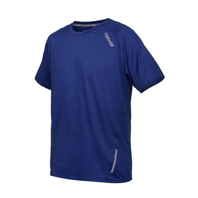 【HODARLA】男英速剪接短袖圓領衫-台灣製 吸濕排汗 T恤 慢跑 路跑 反光 上衣 麻花寶藍(3162403)