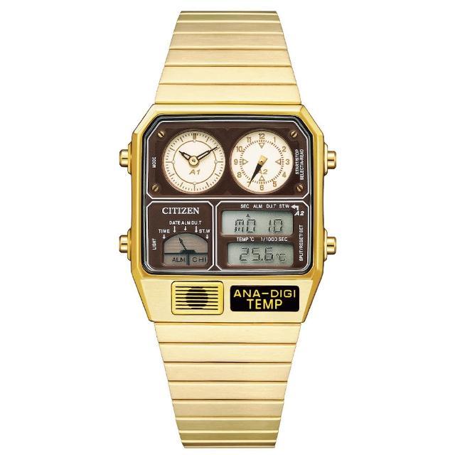 【CITIZEN 星辰】ANA-DIGI TEMP 經典金屬復古電子錶-金x咖啡/32.5x40.6mm(JG2103-72X)