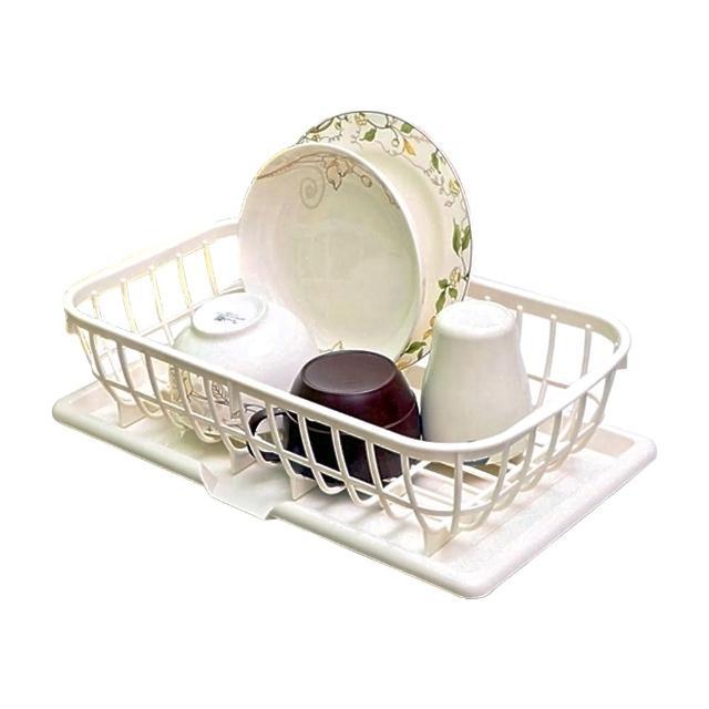 【SANADA】日本製造 標準型食器瀝水收納籃2件組(附瀝水盤)