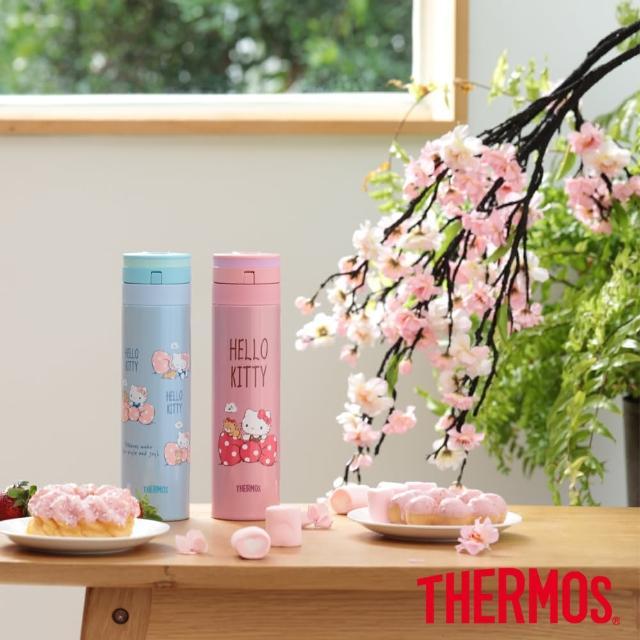 【膳魔師_超值2入】不鏽鋼HelloKitty超輕量自動上鎖保溫瓶450ml+450ml(JNS-450KT)