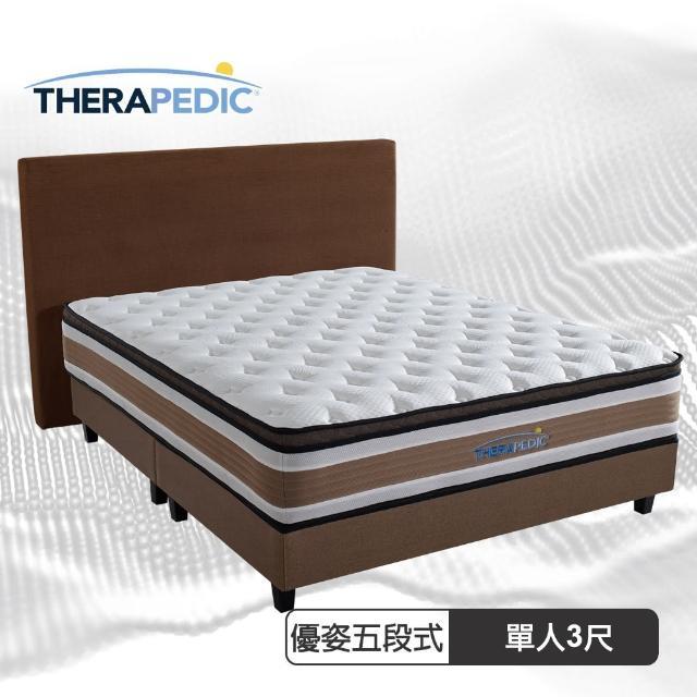 【Therapedic 沛迪醫生】優姿五段獨立筒三線護脊彈簧床墊單人3尺(比利時超微天絲)