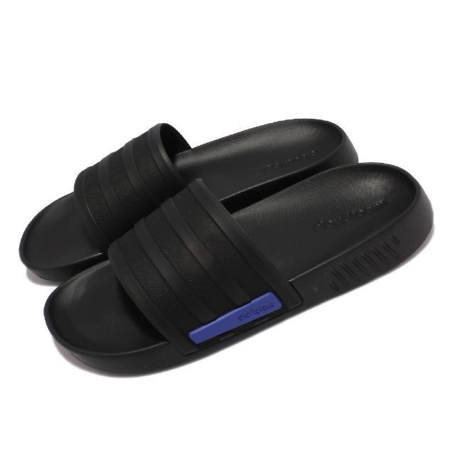 【adidas 愛迪達】拖鞋 Racer TR Slide 套腳 男鞋 愛迪達 輕量 舒適 快速排水 休閒穿搭 黑 藍(G58170)