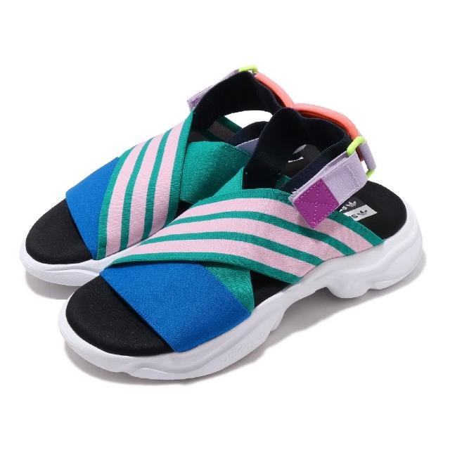 【adidas 愛迪達】涼拖鞋 Magmur Sandal 女鞋 愛迪達 三線 魔鬼氈 夏日 涼爽 透氣 綠 粉(EF5864)