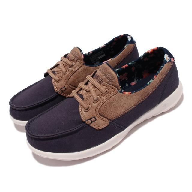 【SKECHERS】休閒鞋 Go Walk Like 帆船鞋 女鞋 郊遊 踏青 健走 好穿脫 輕量 緩震 藍 棕(136098-NVY)