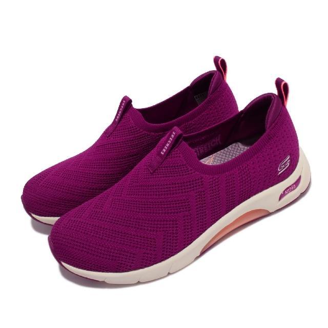 【SKECHERS】休閒鞋 Skech-Air Arch-Fit 女鞋 氣墊 專利鞋墊 緩震 郊遊 健走 紫 淺褐(104251-RAS)