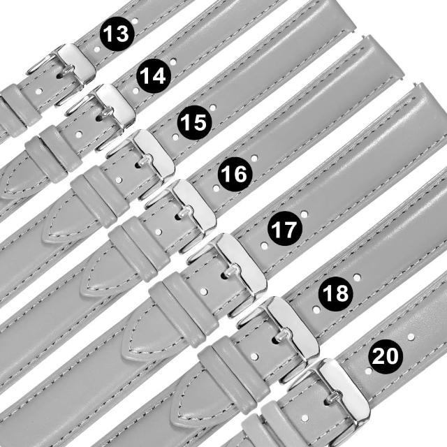 【Watchband】13.14.15.16.17.18.20mm / 各品牌通用 柔軟舒適 快拆型 真皮錶帶(灰色)