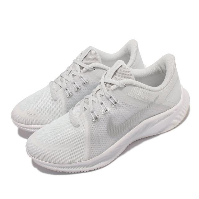 【NIKE 耐吉】慢跑鞋 Quest 4 低筒 運動 女鞋 輕量 透氣網布 Flywire支撐包覆 白 灰(DA1106-100)