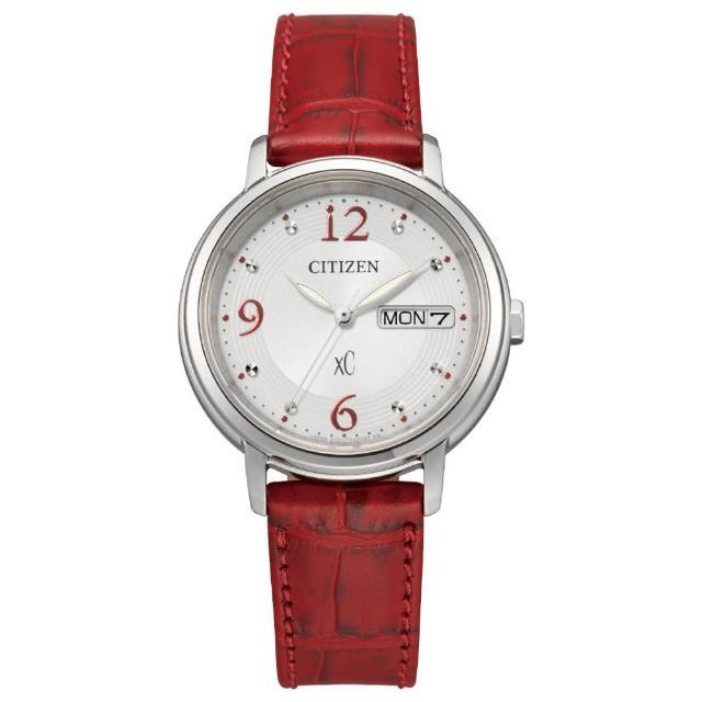 【CITIZEN 星辰】xC 浪漫甜心限定款光動能時尚女錶-紅x銀/32.5mm(EW2420-00A)