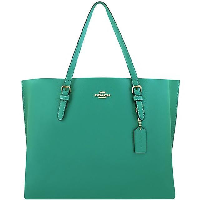 【COACH】荔枝紋皮革托特包-荷葉綠色/大型(買就送璀璨水晶觸控筆)