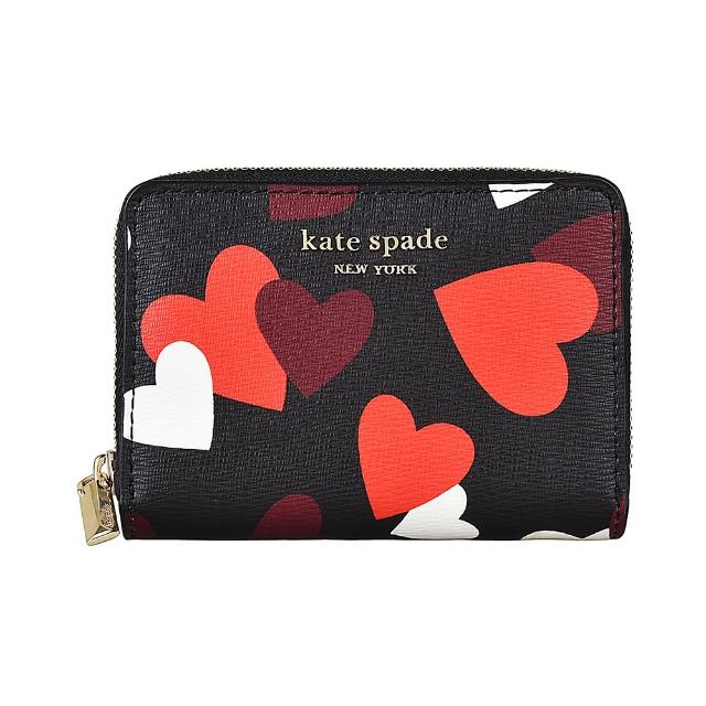 【KATE SPADE】Kate Spade CELEBRATION HEARTS金字LOGO愛心印花防刮牛皮6卡拉鍊錢包(黑x多色)