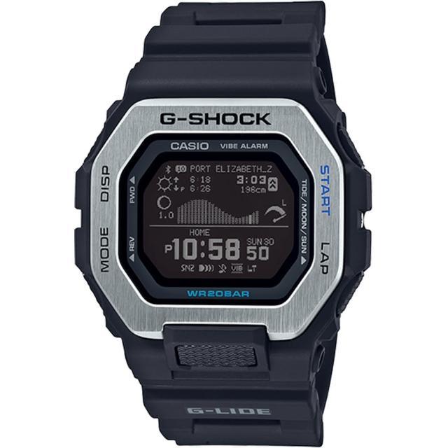 【CASIO 卡西歐】G-SHOCK G-LIDE 極限衝浪藍牙智慧橡膠腕錶/黑(GBX-100-1DR)