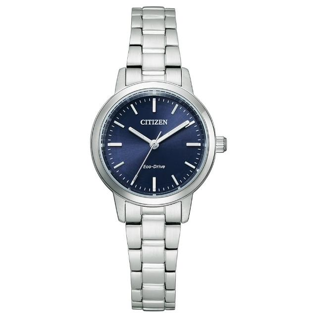 【CITIZEN 星辰】都市極簡光動能時尚女錶-銀x藍/27mm(EM0930-58L)