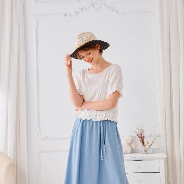 【KiKi】全棉緹花彈性-女短袖襯衫 素色 白(白色/版型適中)