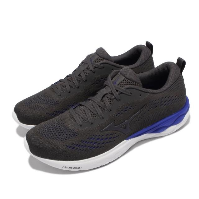 【MIZUNO 美津濃】慢跑鞋 Wave Revolt 2 運動休閒 男鞋 美津濃 路跑 緩震 透氣 基本款 黑 藍(J1GC2181-90)