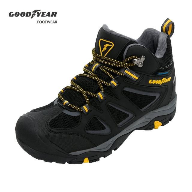 【GOODYEAR 固特異】高筒登山健行鞋/男 戶外郊山 防水 耐磨 黑(探險家GAMO03530)