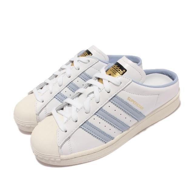 【adidas 愛迪達】休閒鞋 Superstar Mule 套腳 女鞋 愛迪達 半包拖鞋 貝殼頭 舒適 穿搭 白 藍(H05738)