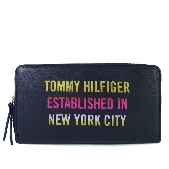 【Tommy Hilfiger】螢光字母ㄇ型拉鍊長夾(黑色)