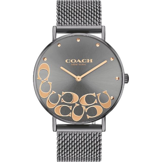 【COACH】大C 經典時尚米蘭帶女錶-灰/36mm(14503825)