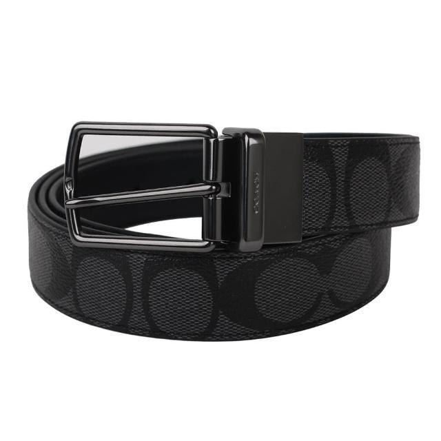 【COACH】防刮LOGO皮革細版穿式皮帶(黑灰)