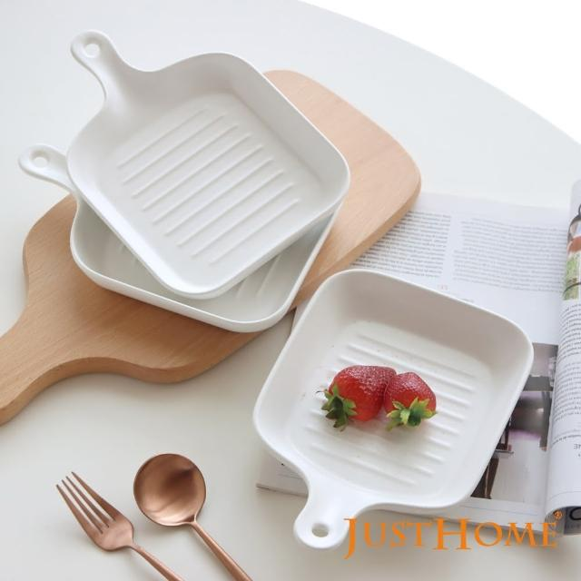 【Just Home】Just Home北歐璞真單柄陶瓷方型烤盤3入組 純白色系(陶瓷餐盤、烤盤、烤皿)