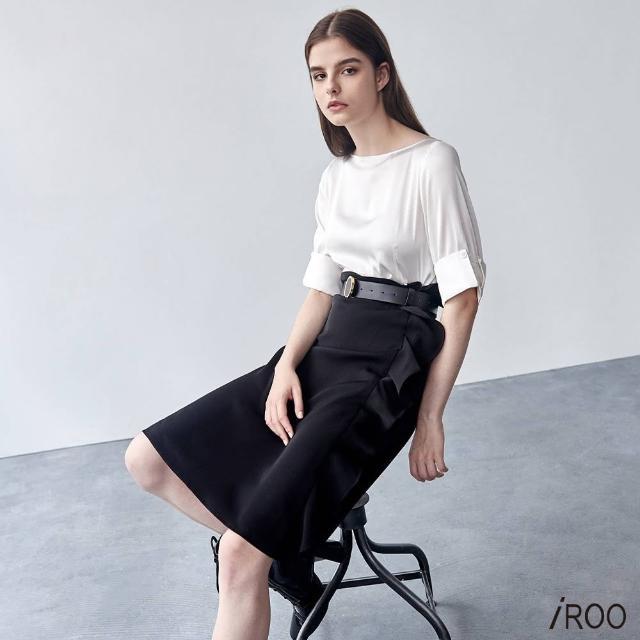 【iROO】黑白 荷葉設計 洋裝