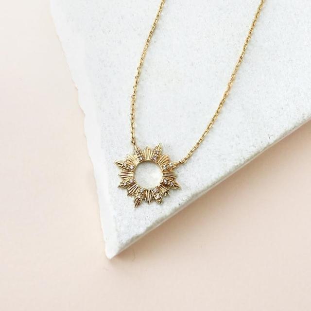 【Wanderlust+Co】放射太陽水晶金項鍊