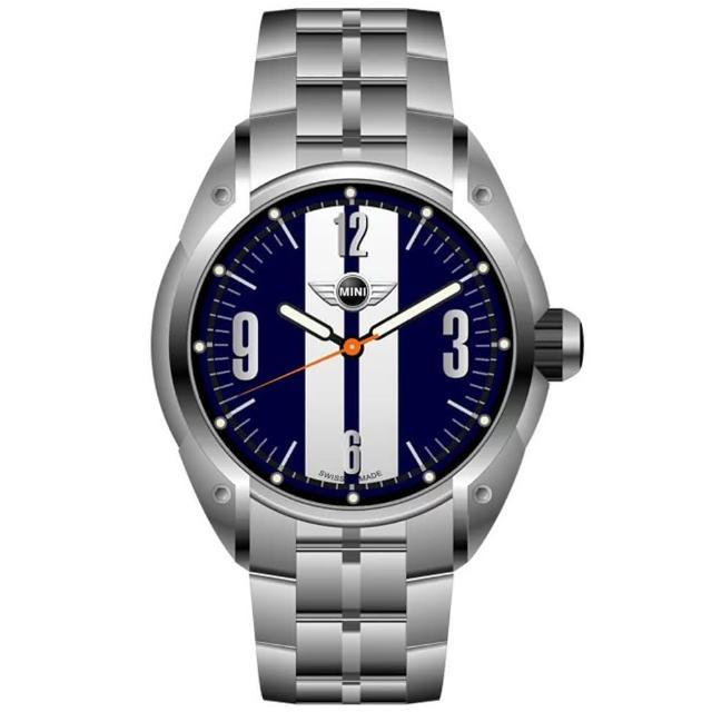 【MINI SWISS WATCHES】石英錶 45mm 藍底白條錶面 不銹鋼錶帶(銀色)
