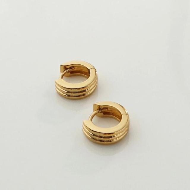【Wanderlust+Co】3直紋寬版金圈耳環