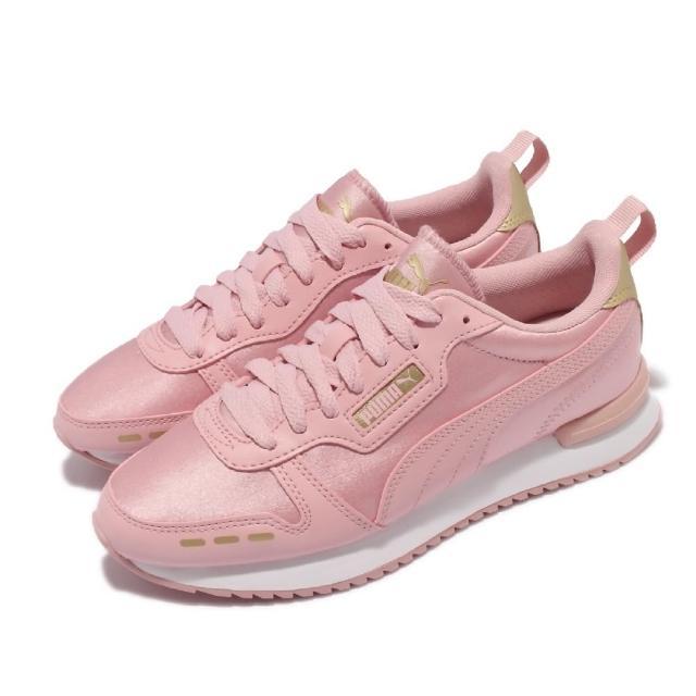 【PUMA】休閒鞋 R78 Wns Metallic 女鞋 海外限定 皮革鞋面 金標 穿搭推薦 粉 金(374739-03)