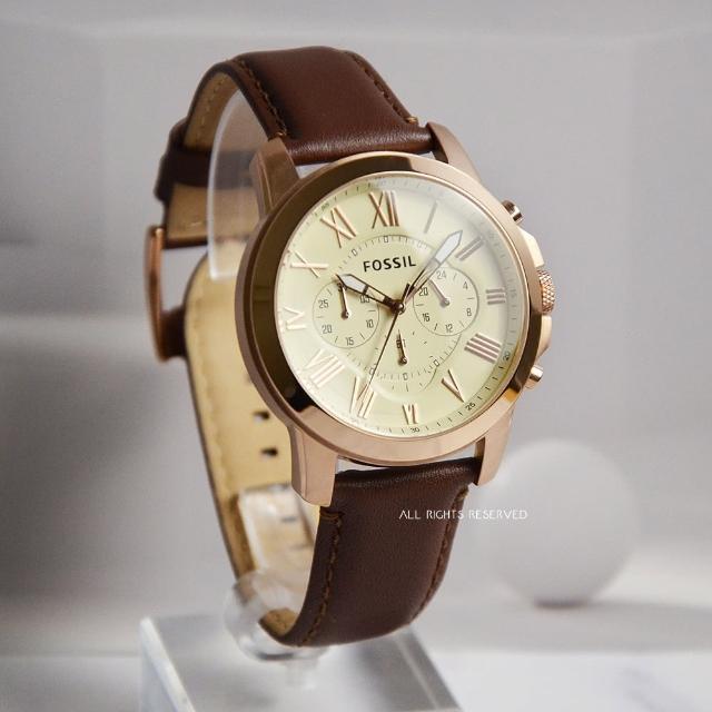【FOSSIL】玫瑰金框 淺黃面 三眼計時 棕色皮革錶帶 父親節禮物首選(FS4991)
