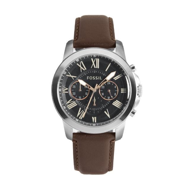【FOSSIL】銀框 黑面 三眼計時 棕色皮革錶帶 父親節禮物首選(FS4813)