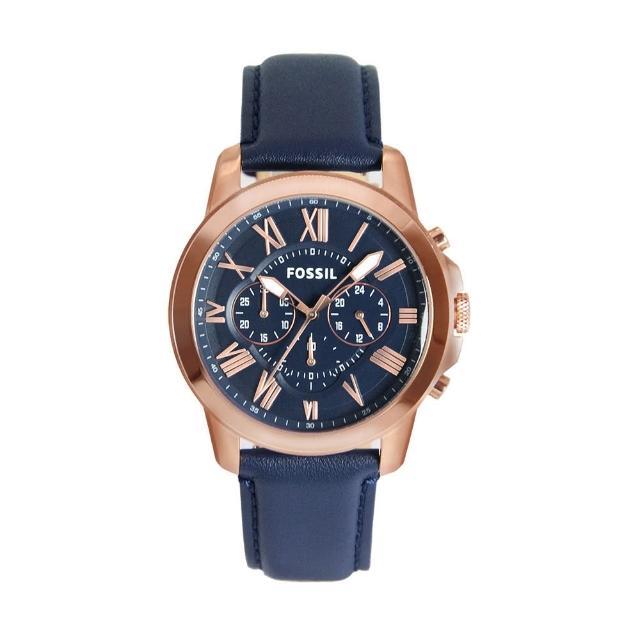 【FOSSIL】玫瑰金框 藍面 三眼計時 藍色皮革錶帶 父親節禮物首選(FS4835)