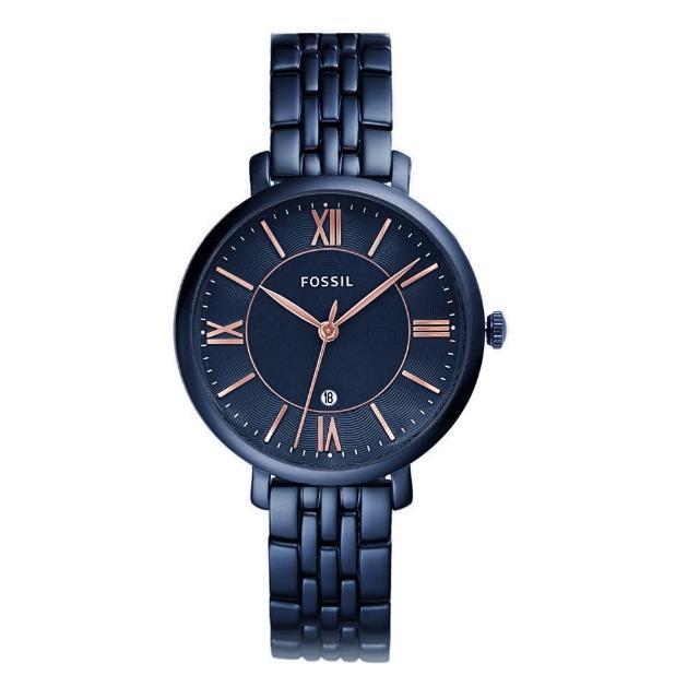 【FOSSIL】經典藍色系 不鏽鋼錶帶 七夕情人節禮物(ES4094)
