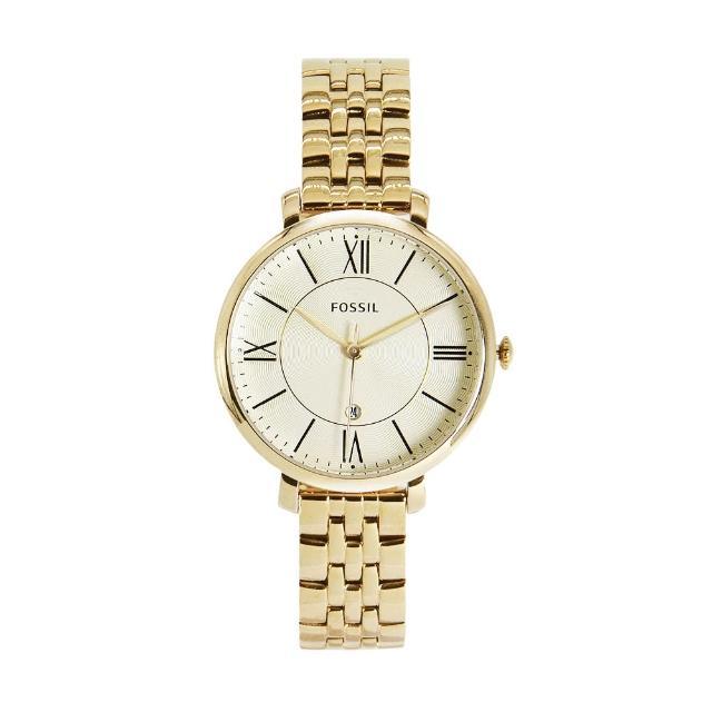 【FOSSIL】經典香檳金 不鏽鋼錶帶 七夕情人節禮物(ES3434)