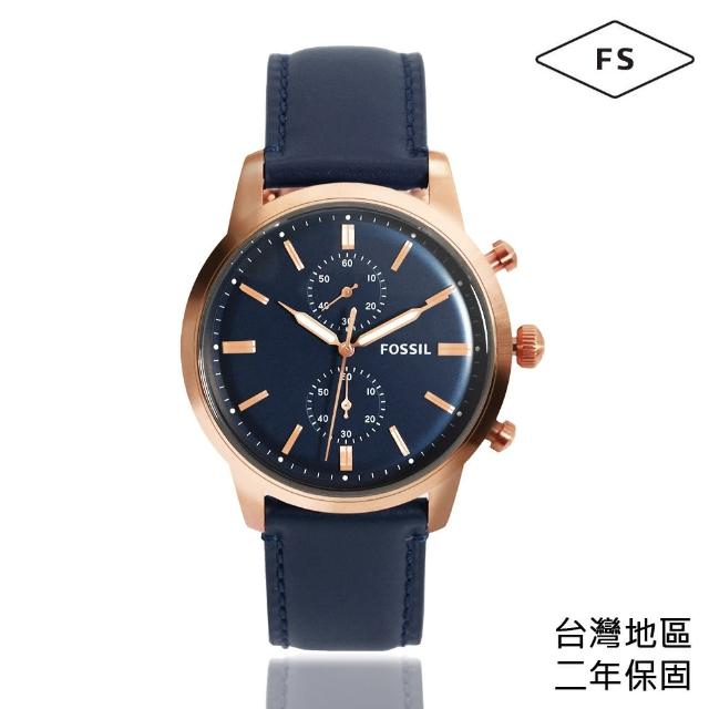 【FOSSIL】玫瑰金框 藍面 雙環計時腕錶 藍色皮革錶帶 父親節禮物首選(FS5436)