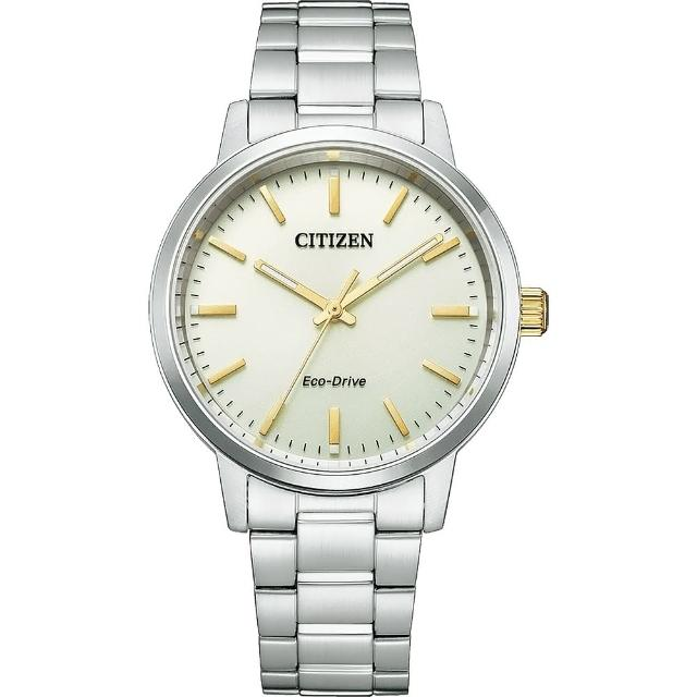 【CITIZEN 星辰】PAIR 對錶強化玻璃鏡面情人鋼帶錶38mm(BJ6541-58P)