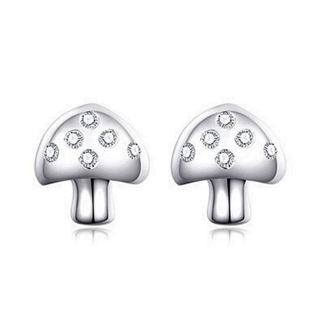 【米蘭精品】925純銀耳環鑲鑽耳飾(時尚可愛蘑菇造型情人節生日禮物女飾品73dy53)