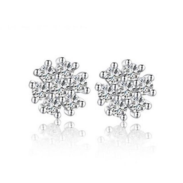 【米蘭精品】925純銀耳環鑲鑽耳飾(時尚設計造型情人節生日禮物女飾品73dy59)