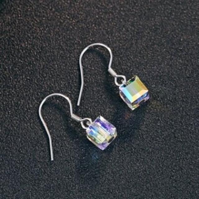 【米蘭精品】925純銀耳環耳飾(魔方水晶造型情人節生日禮物女飾品73dy62)