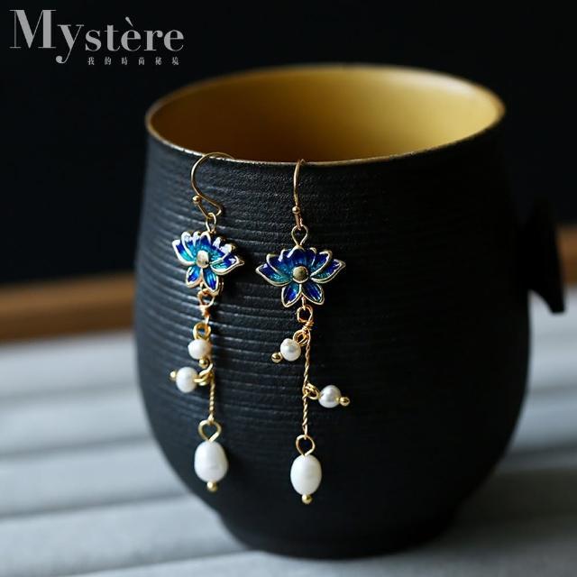 【my stere 我的時尚秘境】925純銀鍍金~中國風蓮花造型珍珠垂墜耳環(925純銀鍍金 蓮花 淡水珍珠 氣質)