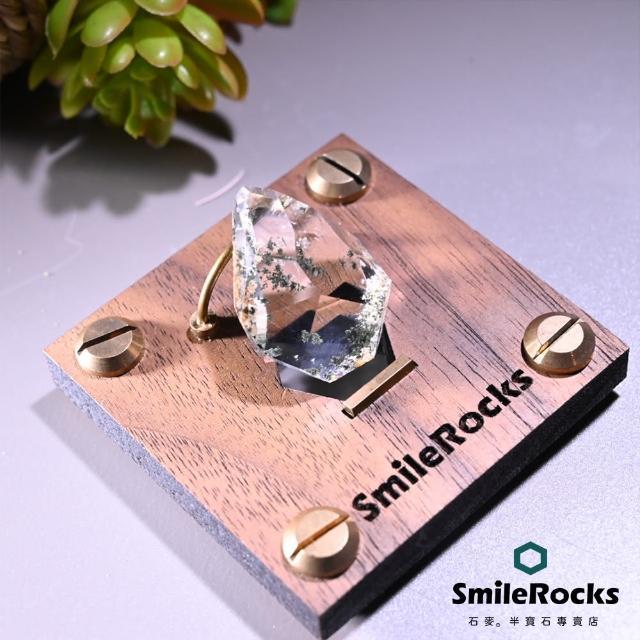 【SmileRocks 石麥】天然白綠幽隨形水晶 2.3x1.4x2.9cm(異象水晶 附SmilePad Stand 6x6底板)