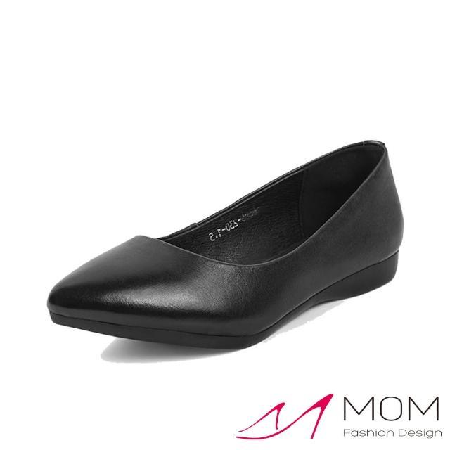 【MOM】真皮娃娃鞋 尖頭娃娃鞋/真皮柔軟牛皮尖頭淺口舒適平底坡跟便鞋(黑)