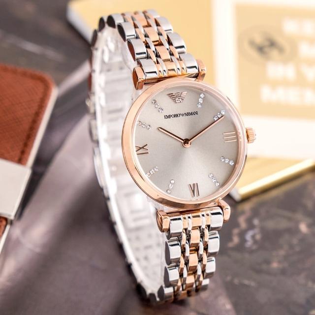 【EMPORIO ARMANI】亞曼尼 公司貨 Gianni T-bar 耀眼輕時尚雙色不鏽鋼腕錶/金銀x金框(AR1840)
