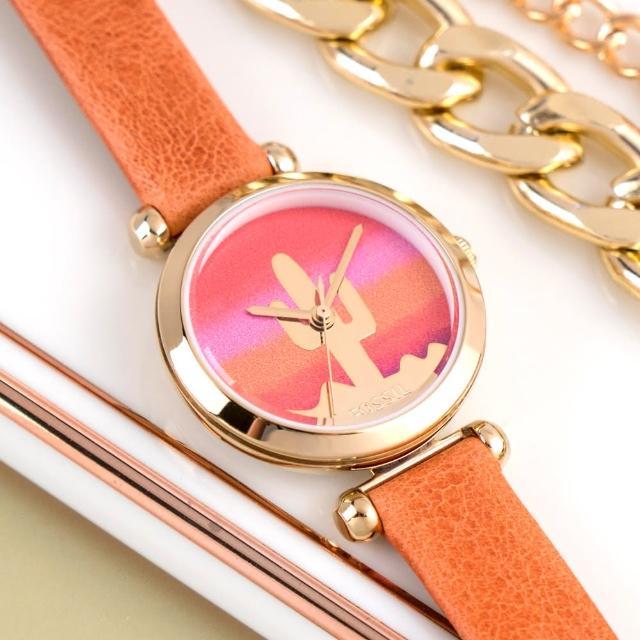 【FOSSIL】公司貨 Tillie 極簡仙人掌小錶徑皮革腕錶/橘x金框 女錶(BQ3623)